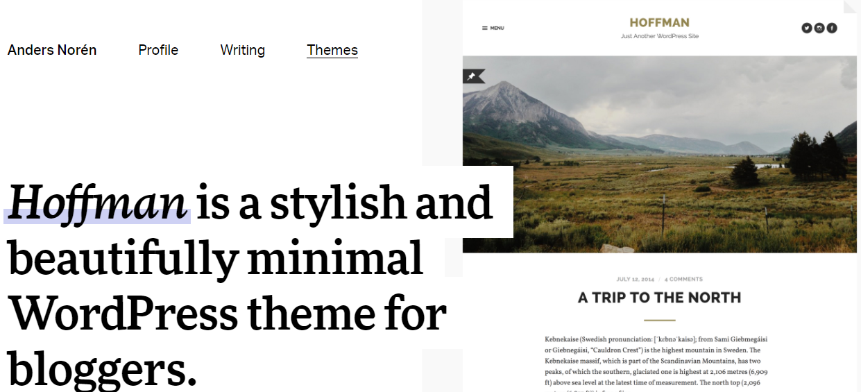 Hoffman - Best Free WordPress Themes for Blogs