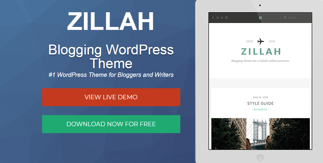 Zillah - Best Free WordPress Themes for Blogs