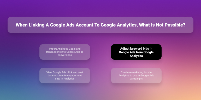 when linking a google ads account to google analytics